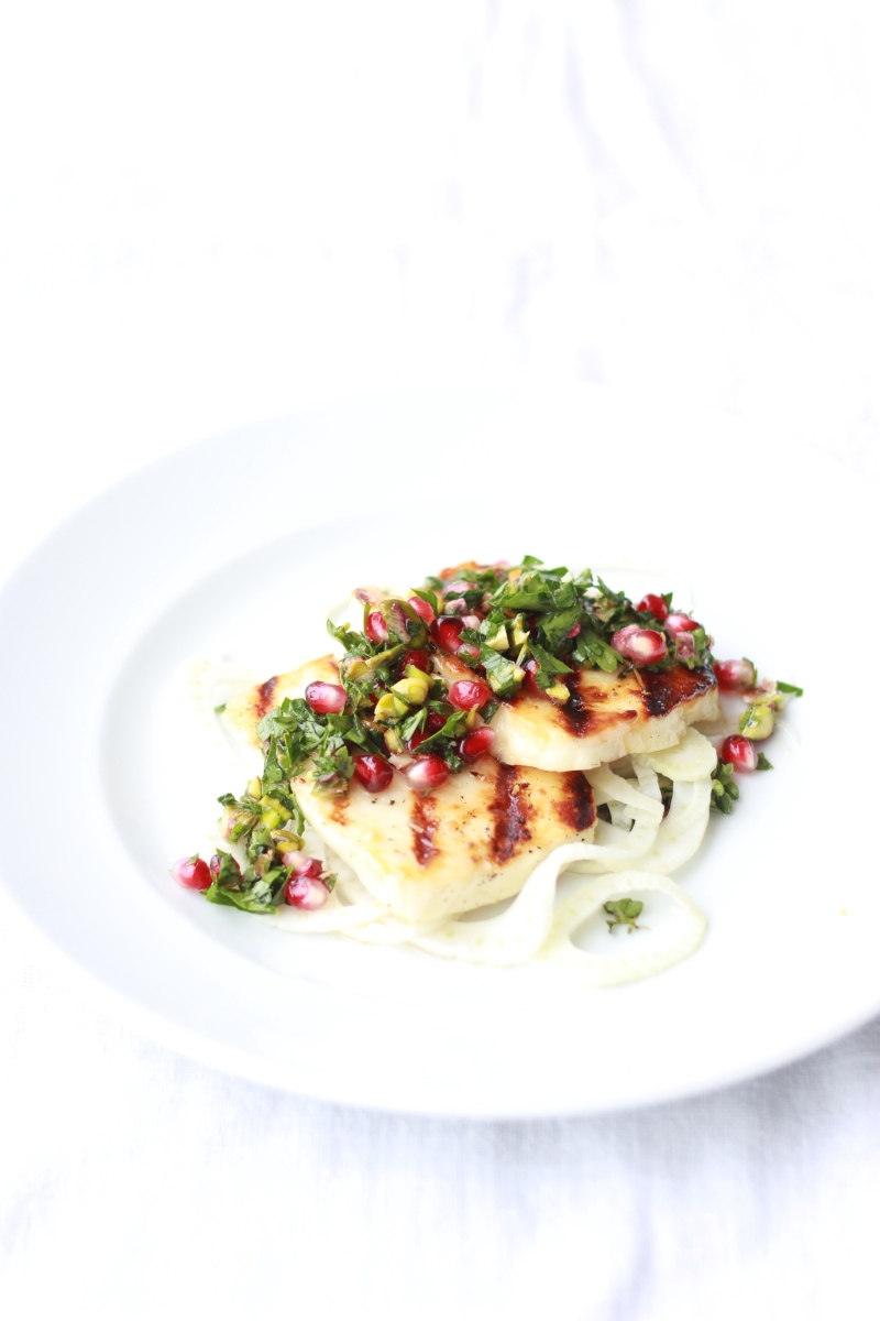 Honey + Thyme Marinated Halloumi with Pickled Fennel + a Pomegranate, Pistachio Salsa