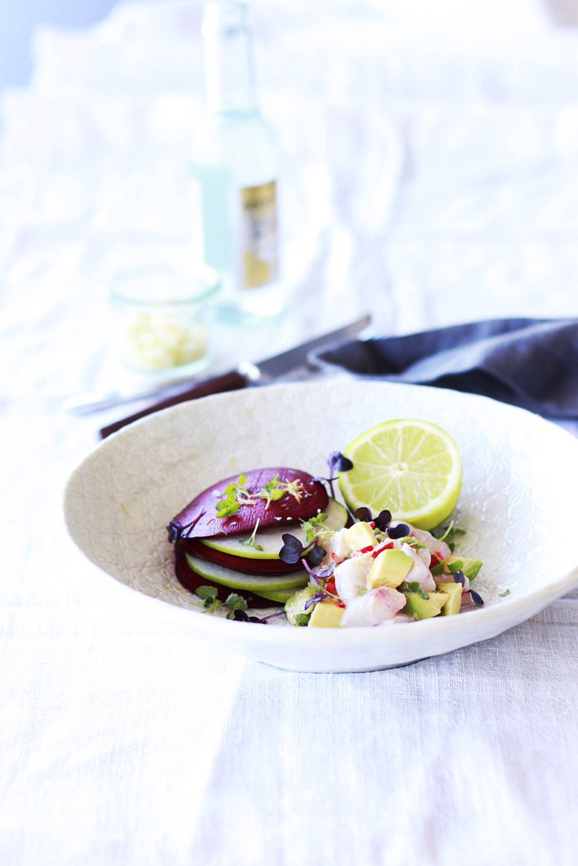 Hapuka Ceviche with Sunshine Citrus Salt + Apple, Beet Crisps
