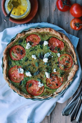 Spinach, Tomato + Goats Cheese Tart