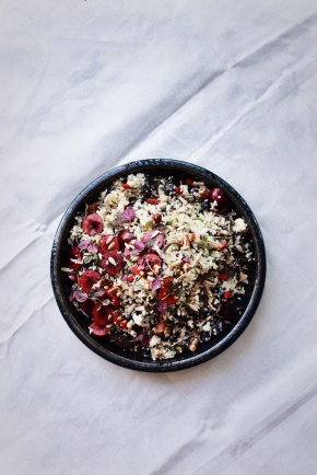 Cauliflower, Kale + Apple Tabbouleh with Blueberries, Cherries + Seeds