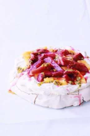 Pavlova with Rosemary Poached Rhubarb, Mango + Passionfruit