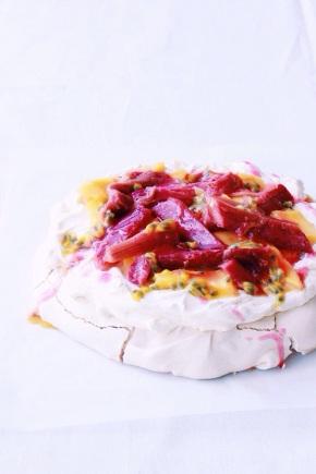 Pavlova with Rosemary Poached Rhubarb, Mango +Passionfruit