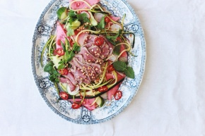 Rare Beef Salad with Watermelon + Raw Zucchini Noodles