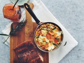 Hot-Smoked Trout, Goats Cheese + AsparagusFrittata